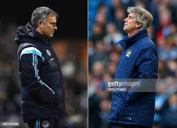 COMPOSITE OF TWO IMAGES Image numbers 458004344 and 462072046 In this composite image a comparision has been made between Jose Mourinho Manager of...