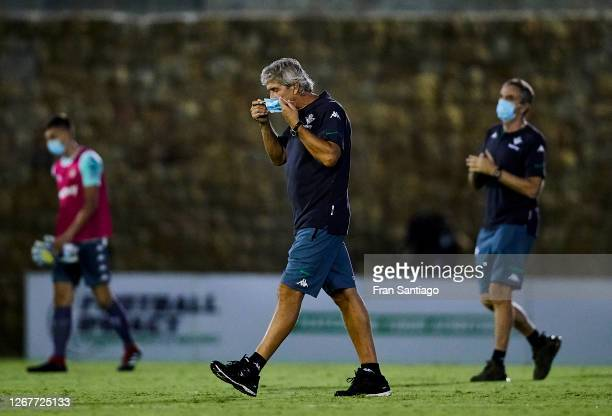 Manuel Pellegrini manager of Real Betis looks on during a pre season friendly match between Real Betis and Cadiz CF at Marbella football center on...