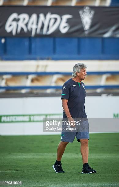 Manuel Pellegrini Manager of Real Betis looks on during a pre season friendly match between Real Betis and UD Almeria at Estadio Antonio Lorenzo...