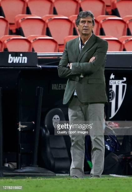 Manuel Pellegrini Manager of Real Betis looks on during the La Liga Santander match between Valencia CF and Real Betis at Estadio Mestalla on October...