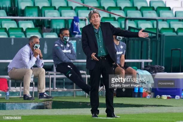 Manuel Pellegrini Manager of Real Betis reacts during the La Liga Santander match between Real Betis and Real Sociedad at Estadio Benito Villamarin...