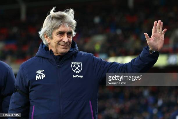 Manuel Pellegrini Manager of West Ham United acknowledges the fans prior to the Premier League match between Crystal Palace and West Ham United at...
