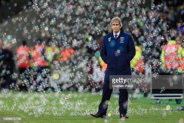 Manuel Pellegrini Manager of West Ham United looks on after the Premier League match between West Ham United and Crystal Palace at London Stadium on...