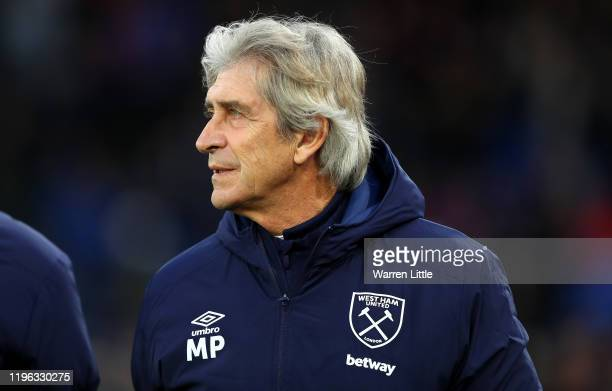 Manuel Pellegrini manager of West Ham United looks on ahead of the Premier League match between Crystal Palace and West Ham United at Selhurst Park...