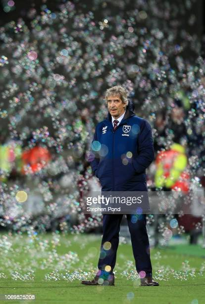 Manuel Pellegrini, Manager of West Ham United looks on during the Premier League match between West Ham United and Crystal Palace at London Stadium...
