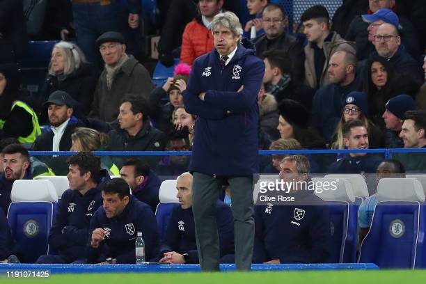 Manuel Pellegrini, Manager of West Ham United looks on during the Premier League match between Chelsea FC and West Ham United at Stamford Bridge on...