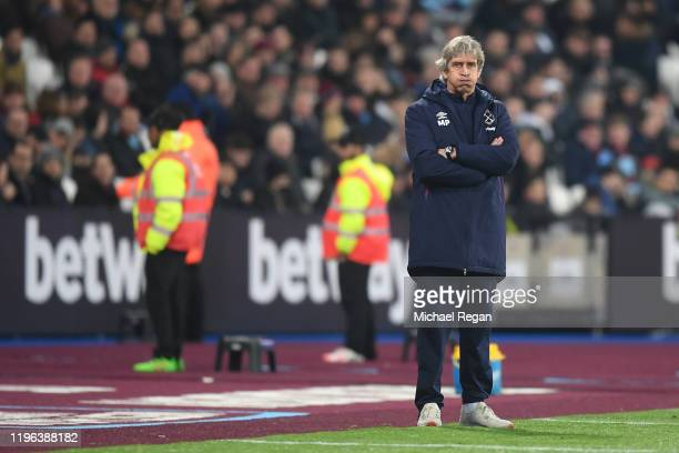 Manuel Pellegrini Manager of West Ham United looks on during the Premier League match between West Ham United and Leicester City at London Stadium on...