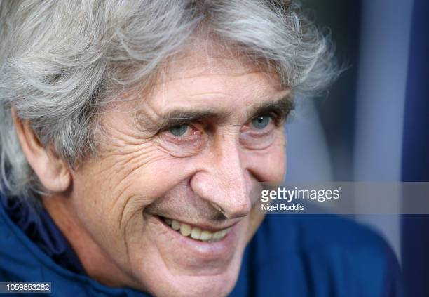 Manuel Pellegrini Manager of West Ham United looks on prior to the Premier League match between Huddersfield Town and West Ham United at the John...