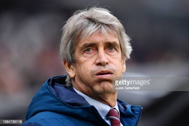 Manuel Pellegrini Manager of West Ham United looks on prior to the Premier League match between West Ham United and Manchester City at London Stadium...