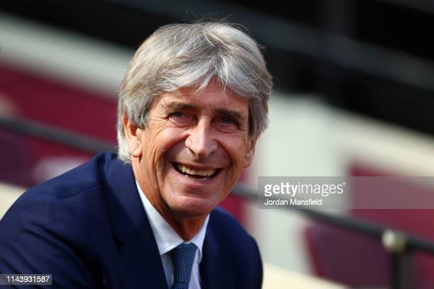 Manuel Pellegrini, Manager of West Ham United looks on prior to the Premier League match between West Ham United and Leicester City at London Stadium...
