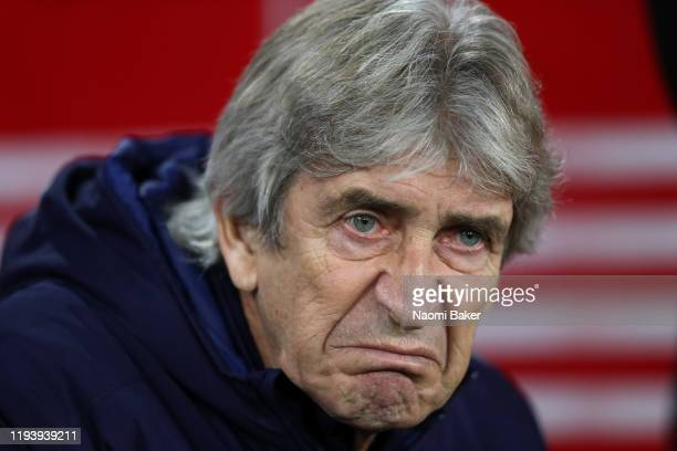 Manuel Pellegrini, Manager of West Ham United looks on prior to the Premier League match between Southampton FC and West Ham United at St Mary's...