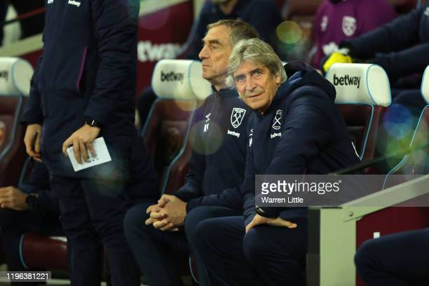 Manuel Pellegrini Manager of West Ham United looks on prior to the Premier League match between West Ham United and Leicester City at London Stadium...