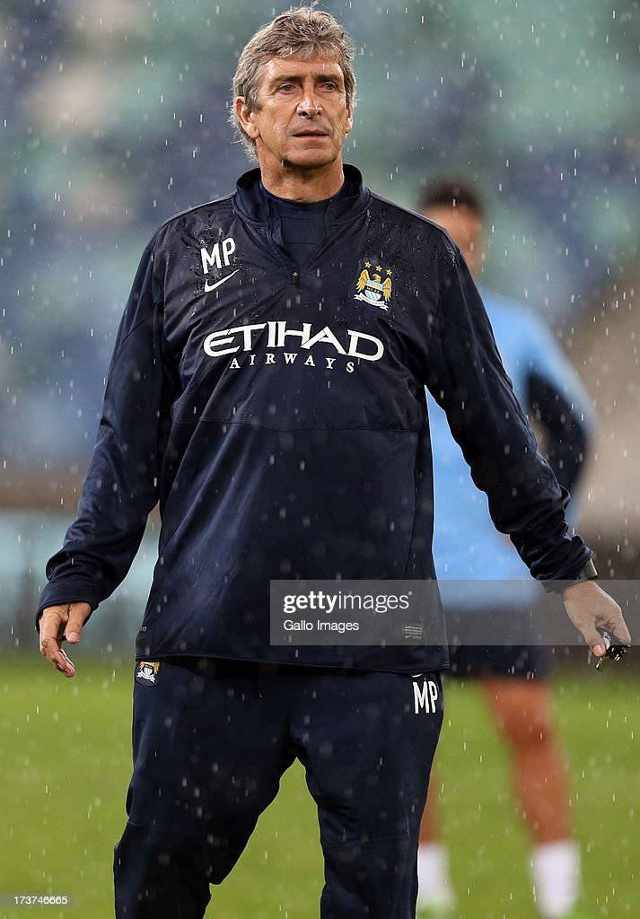 Manuel Pellegrini Manger of Manchester City during the Manchester City training session at Moses Mabhida Stadium on July 17, 2013 in Durban, South Africa.