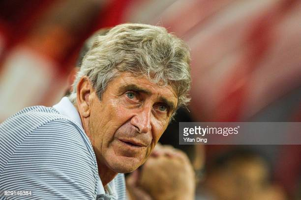 Manuel Pellegrini of Hebei China Fortune reacts piror to the China Super League match between Hebei China Fortune and Shanghai SIPG at Qinhuangdao...