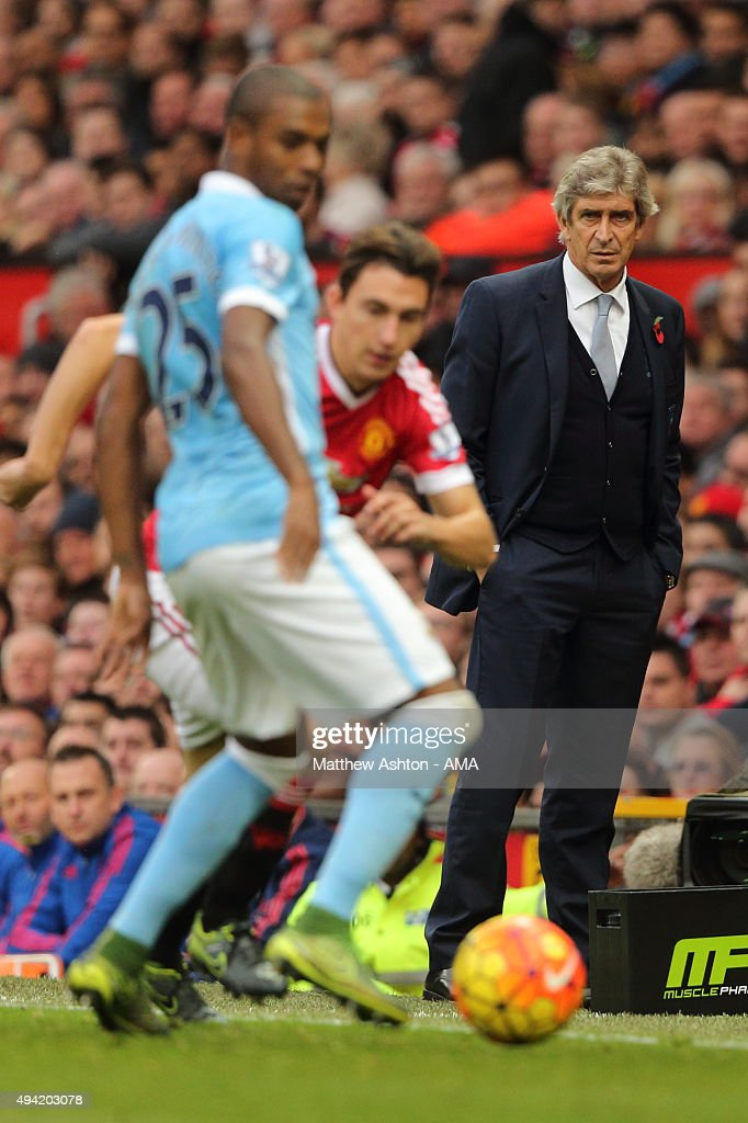 Manuel Pellegrini the head coach / manager of Manchester City during the Barclays Premier League match between Manchester United and Manchester City at Old Trafford on October 25, 2015 in Manchester, England.