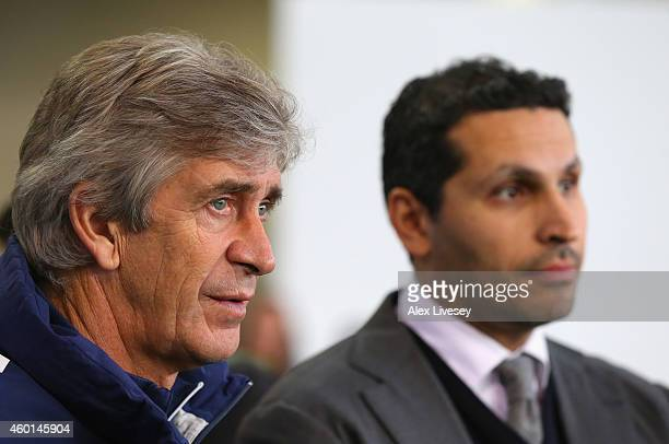 Manuel Pellegrini the manager of Manchester City and Khaldoon Al Mubarek the Manchester City Chairman look on during the official Launch of the...