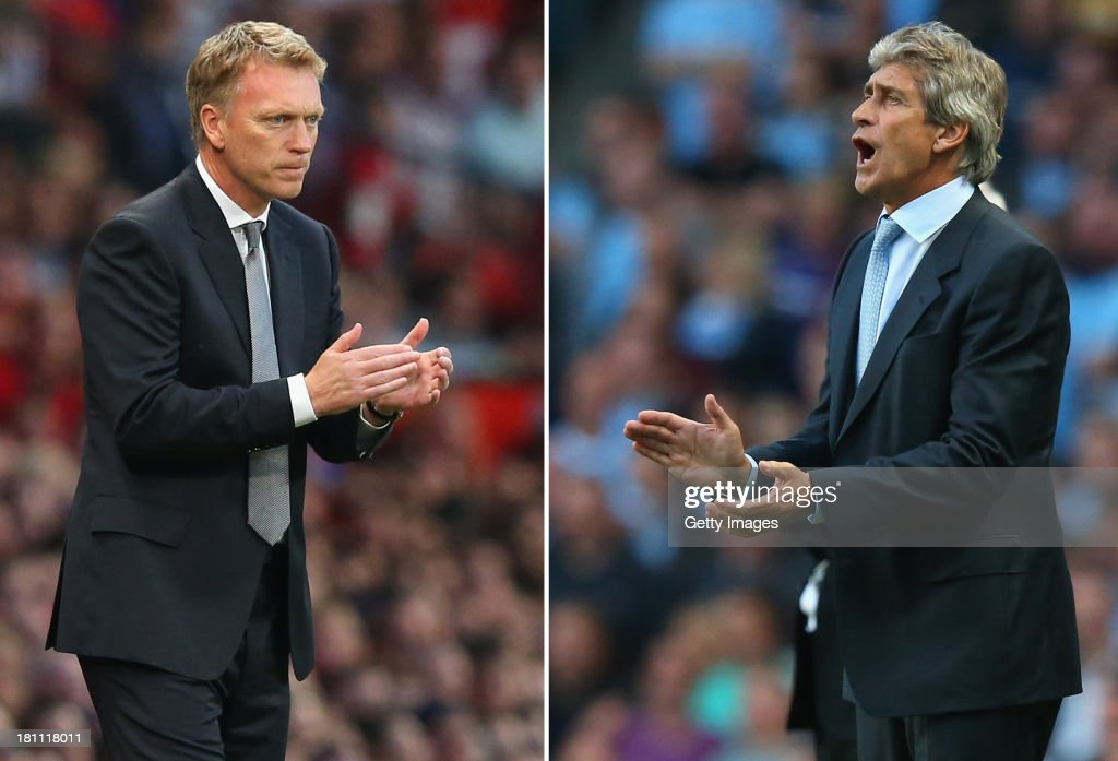 IMAGES - Image Numbers (left) 177990986 and 176924376 ) In this composite image a comparison has been made between David Moyes (L) , Manager of Manchester United and Manuel Pellegrini,Manager of Manchester City. Manchester City and Manchester United meet for the first Manchester Derby of the season on September 22, 2013 at the Etihad Stadium, Manchester. MANCHESTER, ENGLAND - AUGUST 19: Manuel Pellegrini the manager of Manchester City shouts instructions during the Barclays Premier League match between Manchester City and Newcastle United at the Etihad Stadium on August 19, 2013 in Manchester, England.