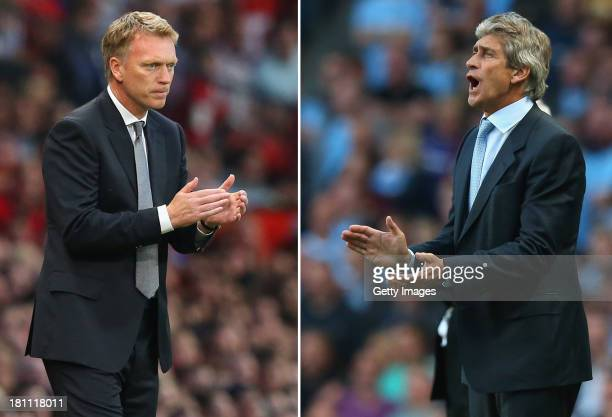 COMPOSITE OF TWO IMAGES Image Numbers 177990986 and 176924376 In this composite image a comparison has been made between David Moyes Manager of...