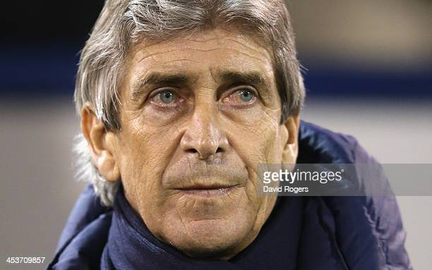 Manuel Pellegrini the Manchester City manager looks on during the Premier League match between West Bromwich Albion and Manchester City at The...