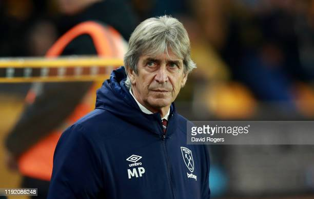 Manuel Pellegrini the West Ham United manager looks on during the Premier League match between Wolverhampton Wanderers and West Ham United at...
