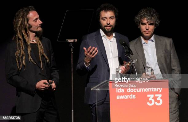 Manuel Pereira Chico Pereira and Gabriel Molera accept the Best Writing Award at the 33rd Annual IDA Documentary Awards at Paramount Theatre on...