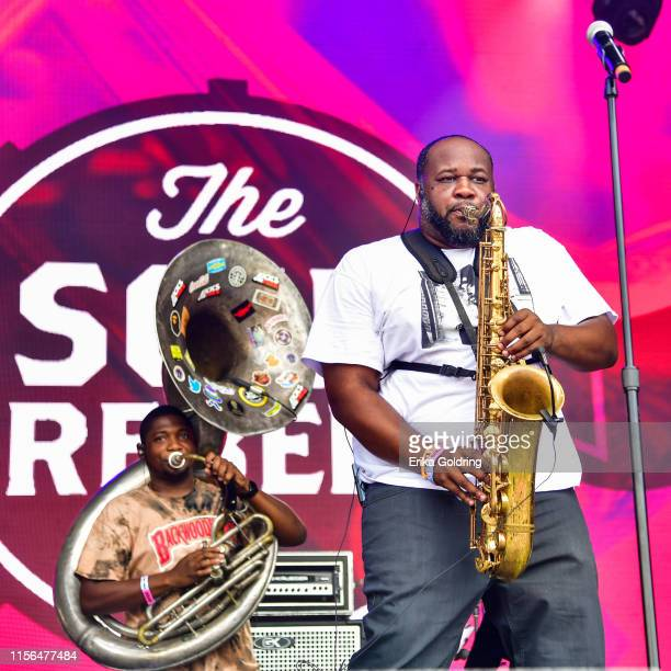 Manuel Perkins and Erion Williams of Soul Rebels Brass Band perfors during 2019 Bonnaroo Music Arts Festival on June 16 2019 in Manchester Tennessee