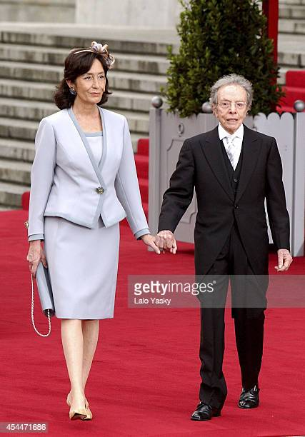 Manuel Pertegaz and guest arrive to Princess Letizia of Spain and Prince Felipe of Spain wedding on May 22 2004 in Madrid Spain