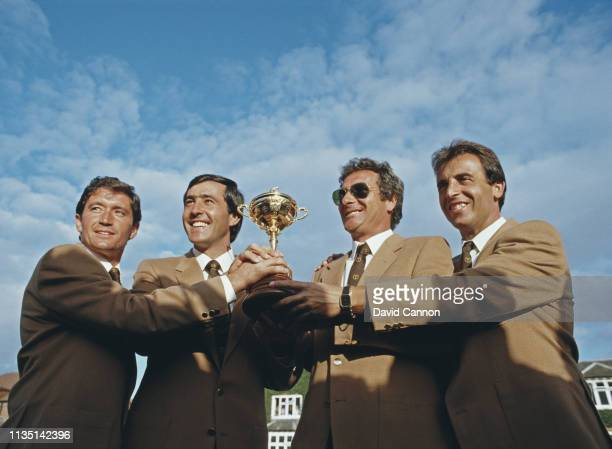 Manuel Pinero Severiano Ballesteros Jose Maria Canizares and Jose Rivero of Spain celebrate Europe winning the 26th Ryder Cup Matches 16½ to 11½...