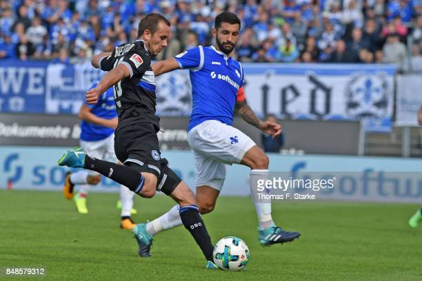 Manuel Prietl of Bielefeld and Aytac Sulu of Darmstadt fight for the ball during the Second Bundesliga match between SV Darmstadt 98 and DSC Arminia...