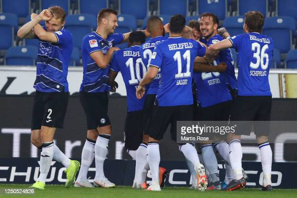 Manuel Prietl of Bielefeld celebrates his team's first goal with teammates during the Second Bundesliga match between DSC Arminia Bielefeld and SV...