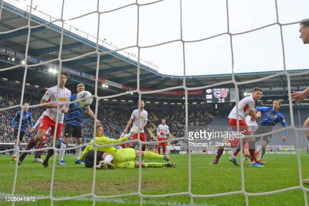 Manuel Prietl of Bielefeld scores his teams third goal during the Second Bundesliga match between DSC Arminia Bielefeld and SSV Jahn Regensburg at...