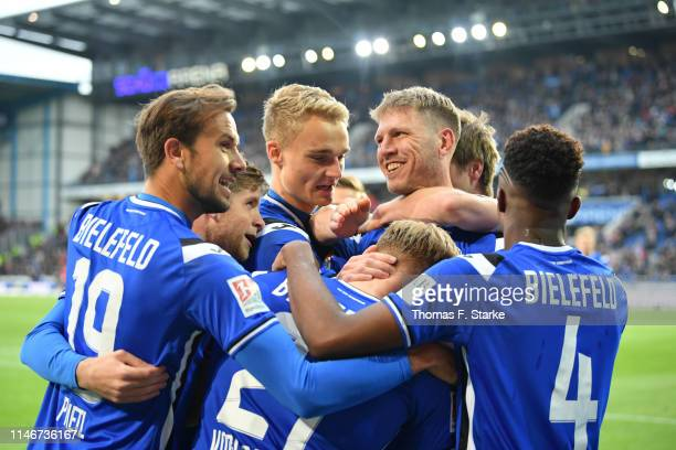Manuel Prietl Patrick Weihrauch Amos Pieper Fabian Klos and Anderson Lucoqui of Bielefeld celebrate during the Second Bundesliga match between DSC...