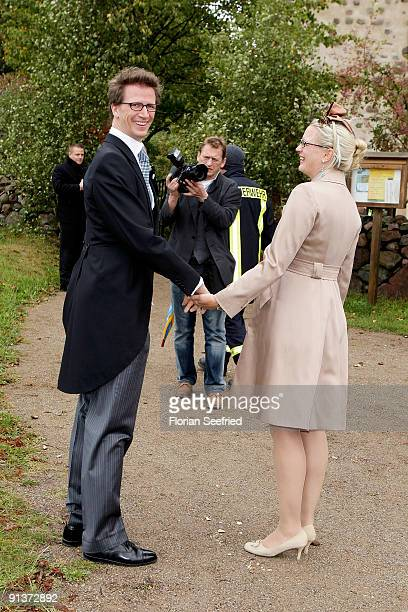 Manuel Prince von Bayern and Anna Princess von Bayern arrive for the church wedding of Barbara Schoeneberger and Maximilian von Schierstaedt at the...