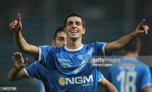 Manuel Pucciarelli of Empoli celebrates after scoring his team's first goal to equalise during the Serie B match between Reggina Calcio and Empoli FC...