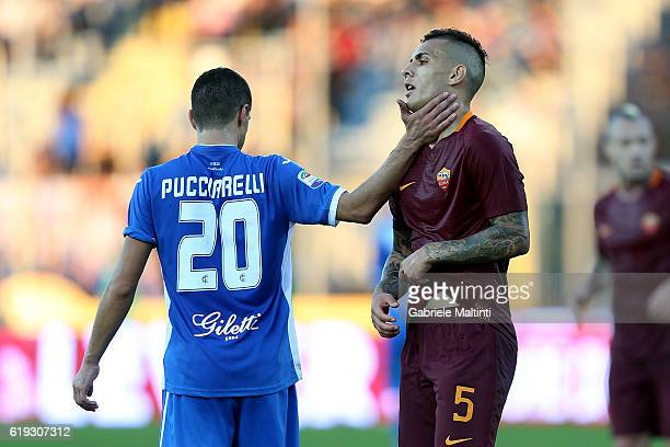 Manuel Pucciarelli of Empoli FC and Leandro Paredes of AS Roma during the Serie A match between Empoli FC and AS Roma at Stadio Carlo Castellani on...