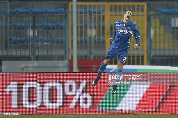 Manuel Pucciarelli of Empoli FC celebrates after scoring a goal during the Serie A match between Empoli FC and FC Torino at Stadio Carlo Castellani...