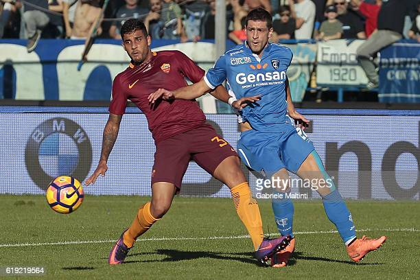 Manuel Pucciarelli of Empoli Fc for the ball with Emerson Palmieri of AS Roma during the Serie A match between Empoli FC and AS Roma at Stadio Carlo...