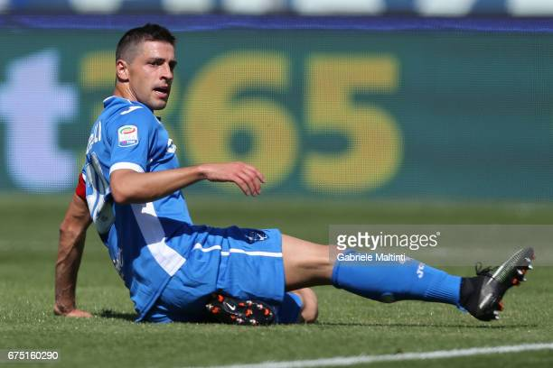 Manuel Pucciarelli of Empoli FC reacts during the Serie A match between Empoli FC and US Sassuolo at Stadio Carlo Castellani on April 30 2017 in...
