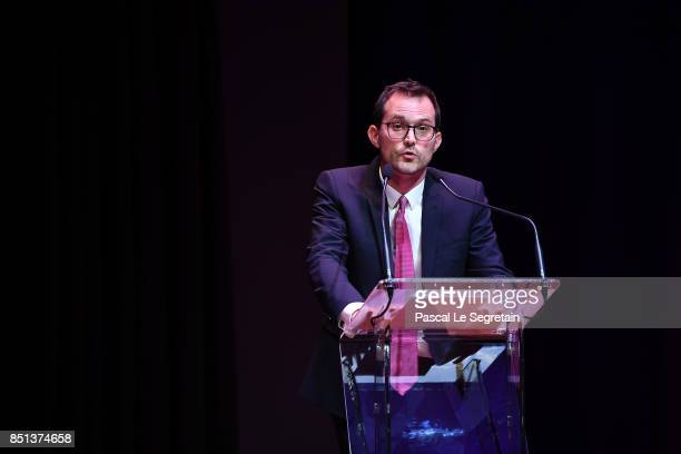 Manuel Rabate Director of Louvre Abu Dhabi delivers a speech during the press presentation of 'Louvre Abu Dhabi' at Musee du Louvre on September 22...