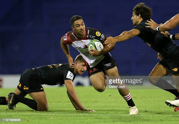 Manuel Rass of Lions evades a tackle during a match between Jaguares and Lions as part of Super Rugby 2020 at JosÈ Amalfitani Stadium on February 1,...