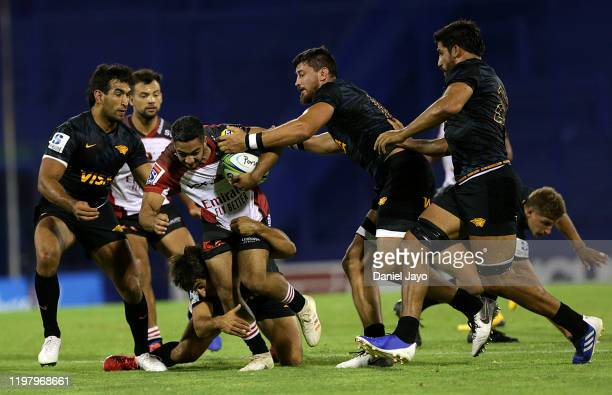 Manuel Rass of Lions is tackled during a match between Jaguares and Lions as part of Super Rugby 2020 at JosÈ Amalfitani Stadium on February 1, 2020...
