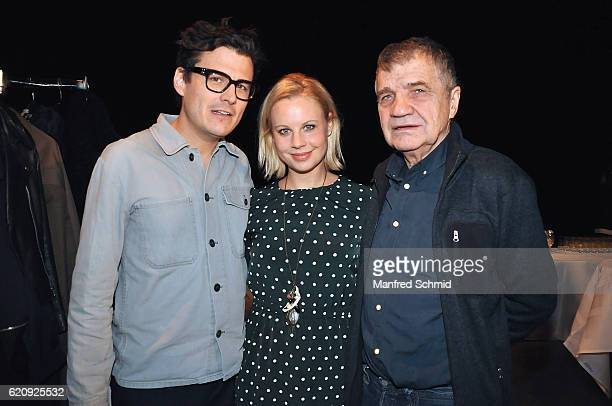 Manuel Rubey, Katharina Strasser and Klaus Rott pose during the 'Landkrimi' presentation in Vienna at ORF Studio 2 on November 3, 2016 in Vienna,...