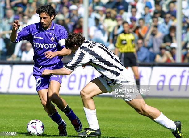 Manuel Rui Costa of Fiorentina and Giuliano Giannicchedda of Udinese in action during the Serie A 28th Round League match between Fiorentina and...