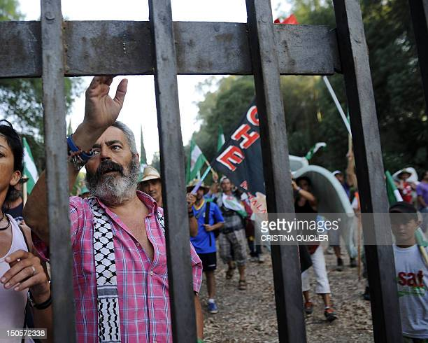 Manuel Sanchez Gordillo the mayor of the village of Marinaleda and activists peacefully leave on August 22 2012 the property of the Duke of Moratalla...