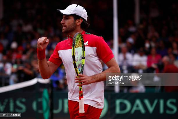 Manuel Sanchez of Mexico celebrates as part of day 2 of Davis Cup World Group I Play-offs at Club Deportivo La Asuncion on March 7, 2020 in Mexico...