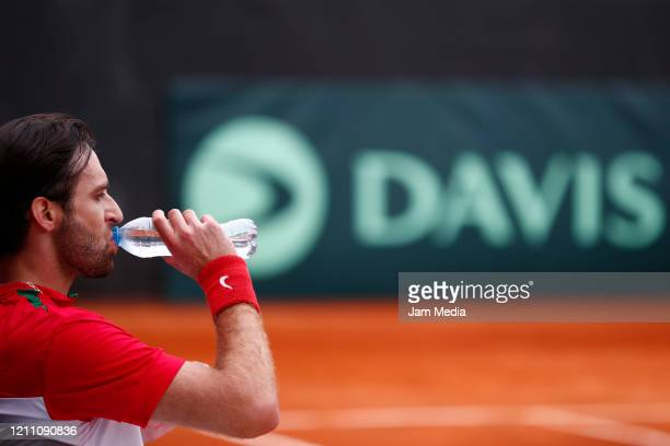 Manuel Sanchez of Mexico reacts as part of day 2 of Davis Cup World Group I Play-offs at Club Deportivo La Asuncion on March 7, 2020 in Mexico City,...
