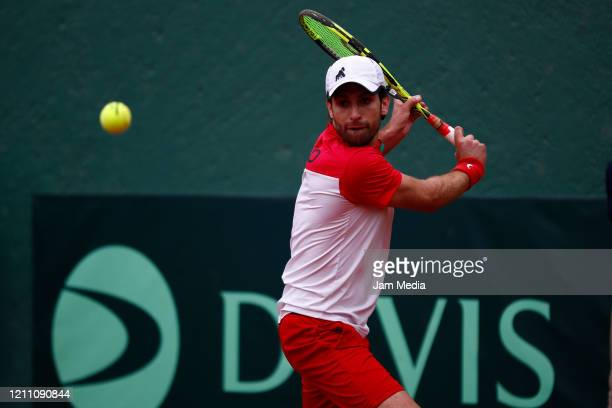 Manuel Sanchez of Mexico returns the ball as part of day 2 of Davis Cup World Group I Play-offs at Club Deportivo La Asuncion on March 7, 2020 in...