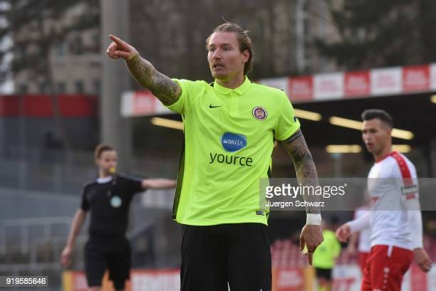 Manuel Schaeffler of Wiesbaden gestures during the 3 Liga match between SC Fortuna Koeln and SV Wehen Wiesbaden at Suedstadion on February 17 2018 in...
