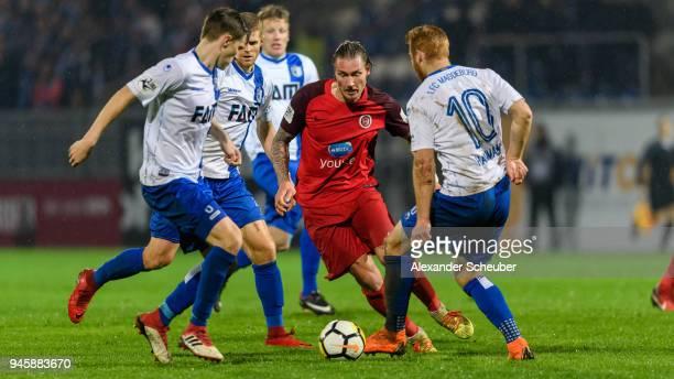 Manuel Schaeffler of Wiesbaden in action during the 3 Liga match between SV Wehen Wiesbaden and 1 FC Magdeburg at BRITAArena on April 13 2018 in...