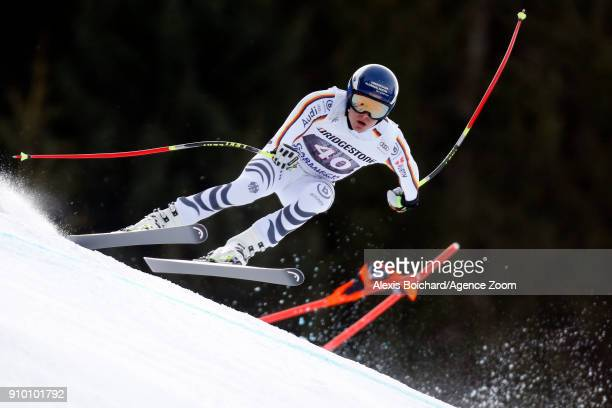 Manuel Schmid of Germany competes during the Audi FIS Alpine Ski World Cup Men's Downhill Training on January 25 2018 in GarmischPartenkirchen Germany
